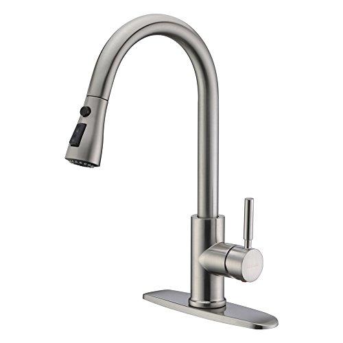 WEWE Single Handle High Arc Brushed Nickel Pullout Kitchen Faucet, Single Lever Stainless Steel Kitchen Sink Faucets